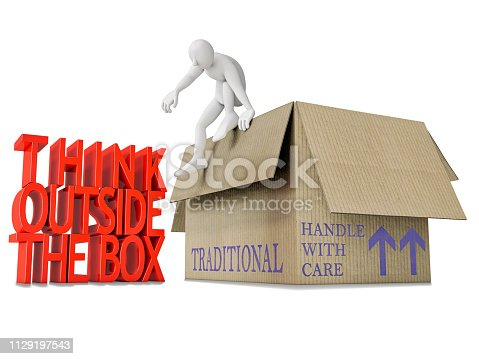 istock Think outside the box - Blank human character jumping out of the cardboard box with the text think outside the box in red - 3D illustration 1129197543