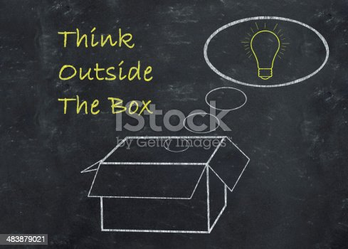 istock Think outside the box concept drawn on chalkboard 483879021