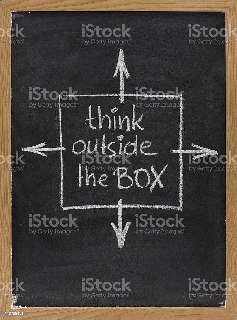 think outside the box phrase on blackboard royalty-free stock photo