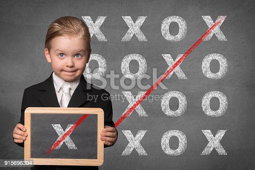 business boy solving problem by holding chalk board
