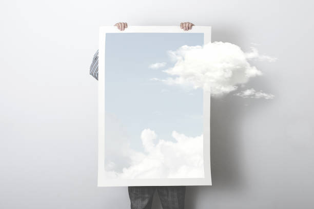 think outside the box, surreal concept of a clouds getting out of a poster stock photo