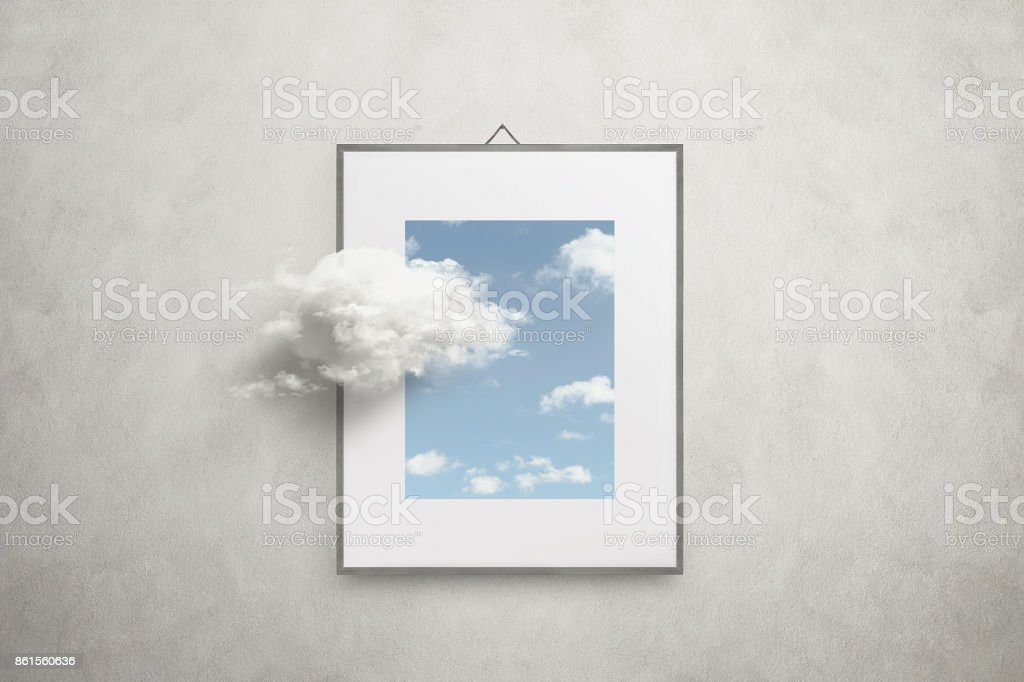 think outside the box surreal minimal concept stock photo