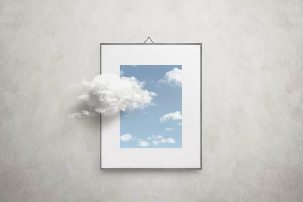 denken sie außerhalb der box surreale minimal-konzept - himmel bilder stock-fotos und bilder
