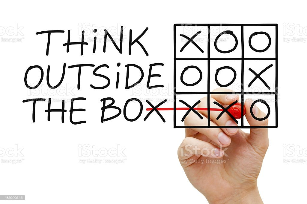 Think Outside The Box Tic Tac Toe Concept royalty-free stock photo