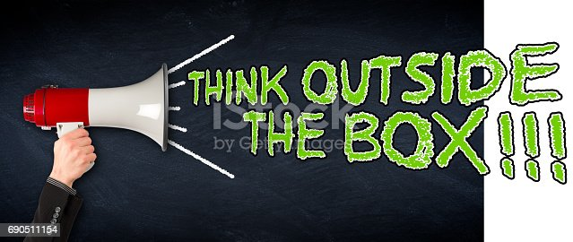 istock think outside the box wide megaphone blackboard business background 690511154