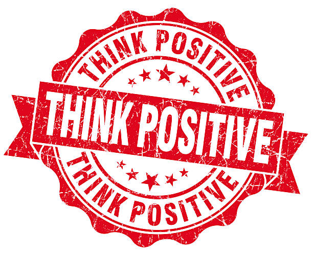 Think positive grunge red vintage round isolated seal stock photo