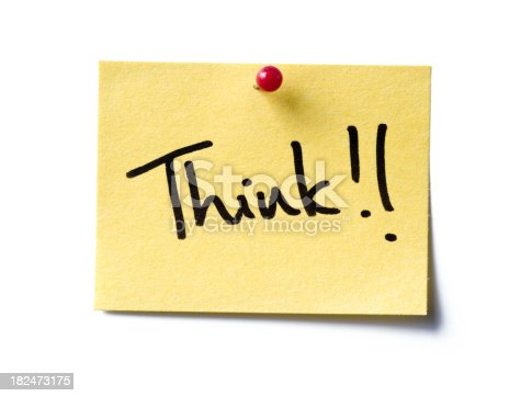 a yellow post-it note with the word 'Think!' written in black marker pen.