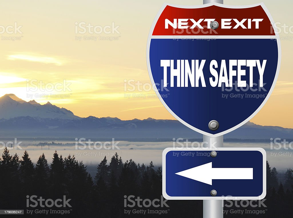 Think safety road sign royalty-free stock photo