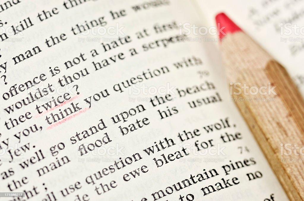Think twice! - Shakespeare's advice stock photo