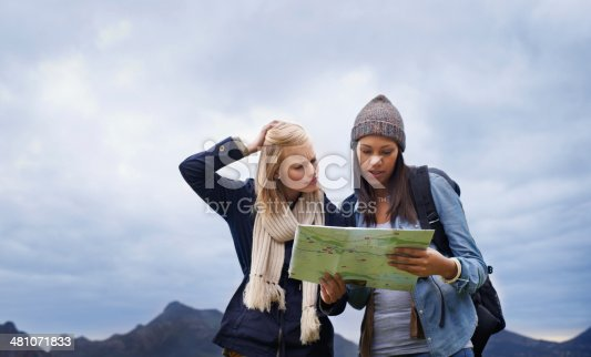 Shot of two female backpackers holding a map and looking confused