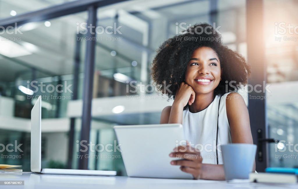 Thinking about how to take the business to technological heights stock photo