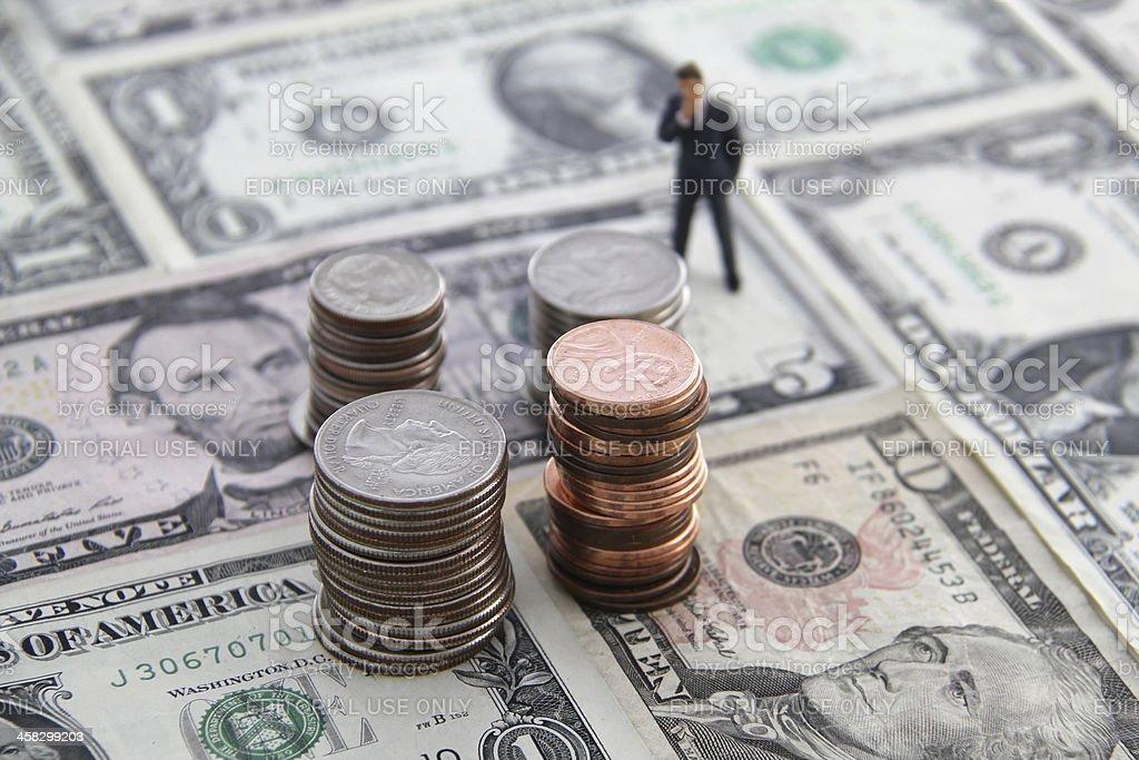 Thinking about money stock photo