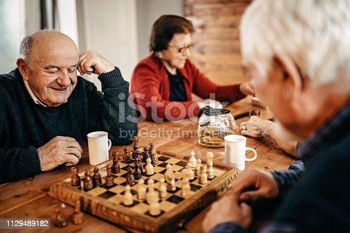 Senior people having fun in nursing home