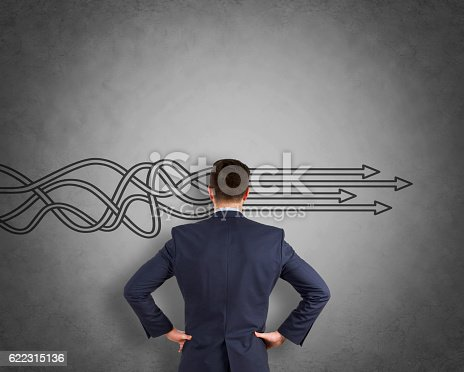 istock Thinking about structuring business process and solutions on wall 622315136