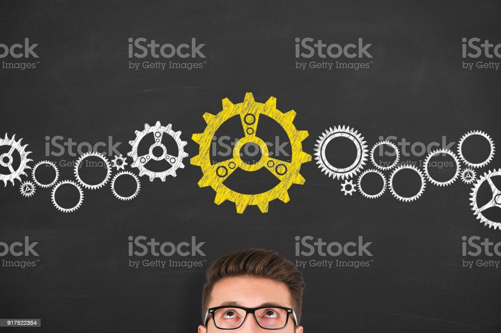 Thinking about structuring business process and solutions stock photo