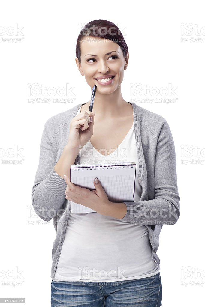 Thinking About Things to Put on a Grocery List stock photo