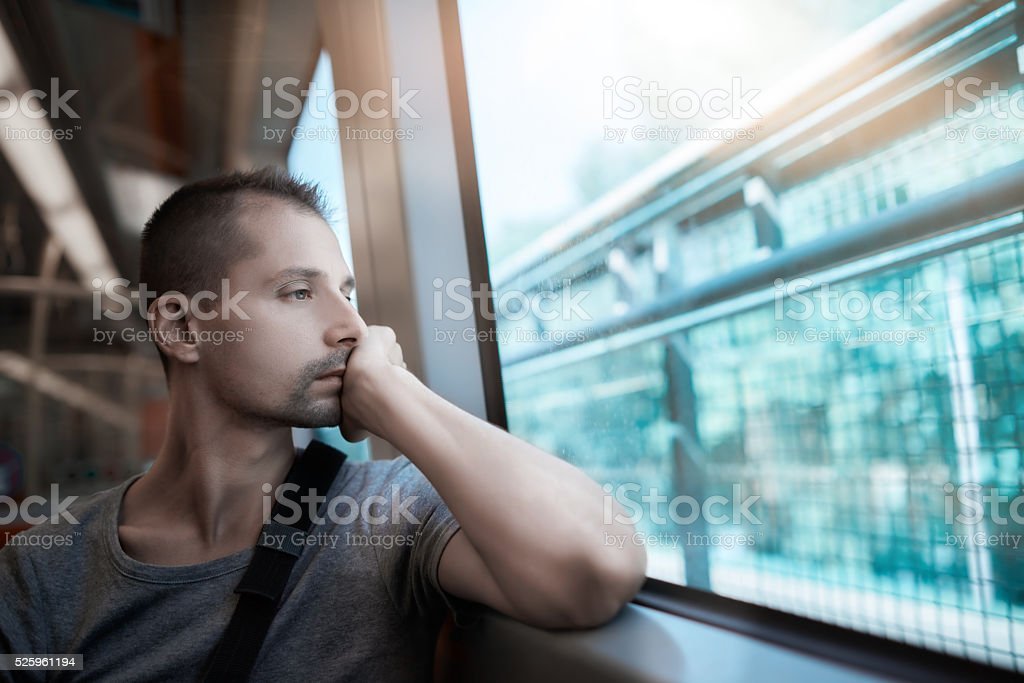 thinking and looking at view stock photo