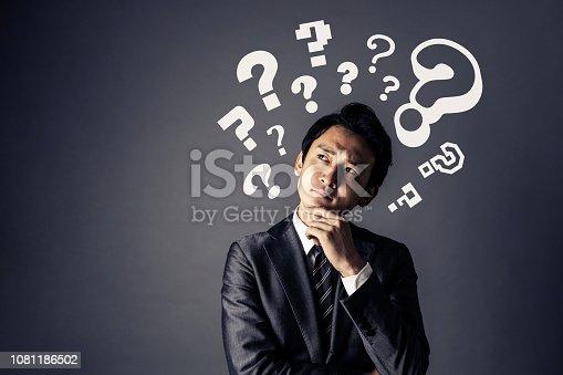 668329720 istock photo Thinking asian businessman. 1081186502