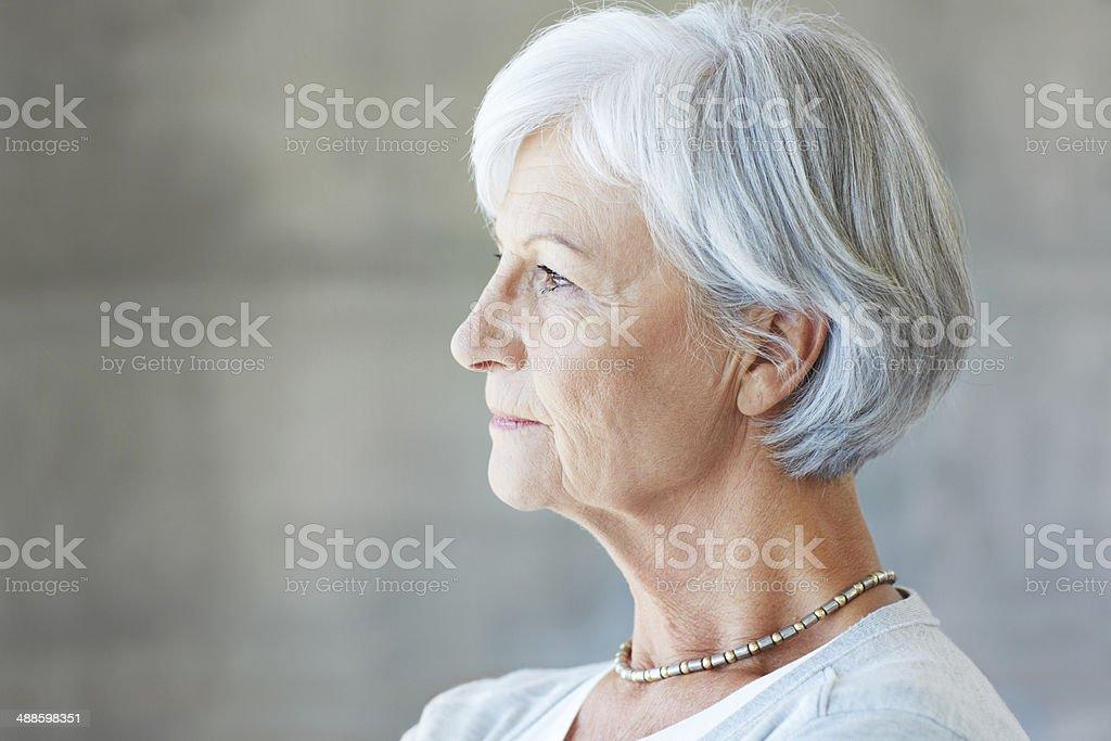 Thinking back on her life stock photo