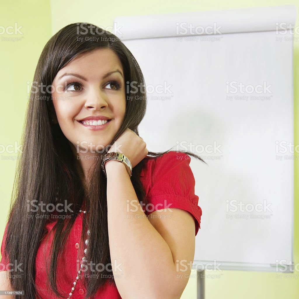 thinking business woman royalty-free stock photo