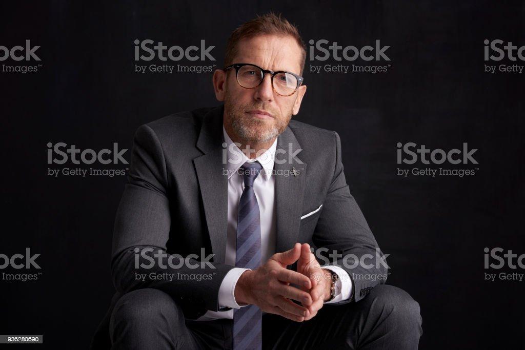 Portrait d'homme d'affaires pensée - Photo