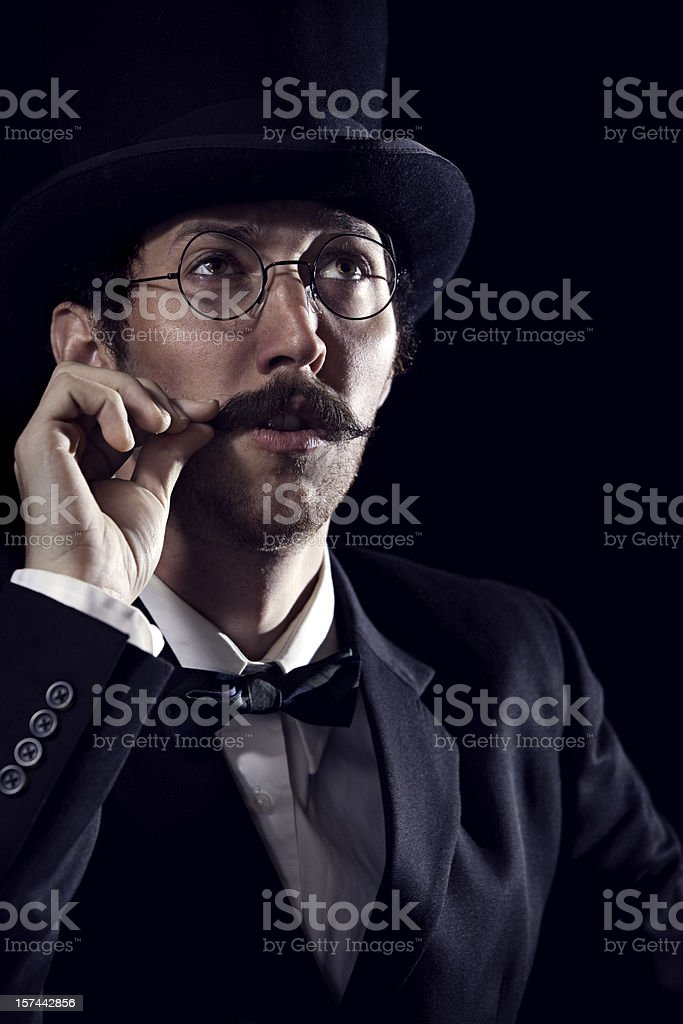 Thinking Classy Mustache Gentleman / Sherlock Holmes stock photo
