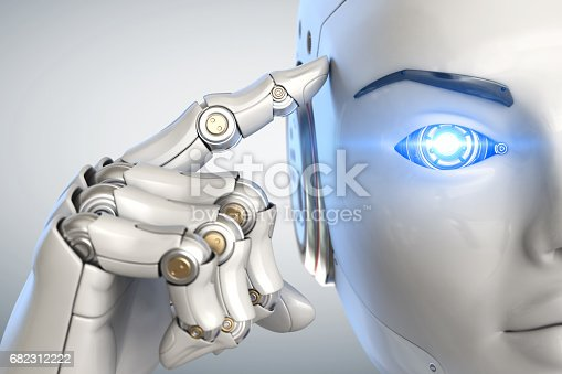 istock Thinking cyborg. Close up 682312222