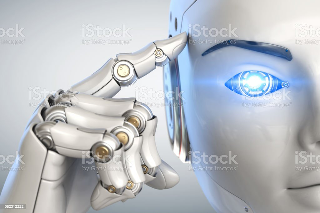 Thinking cyborg. Close up stock photo
