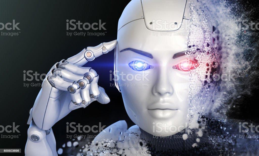 Thinking cyborg stock photo