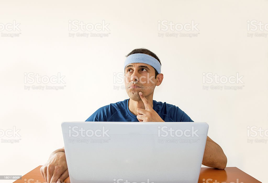 thinking  his next bet online royalty-free stock photo