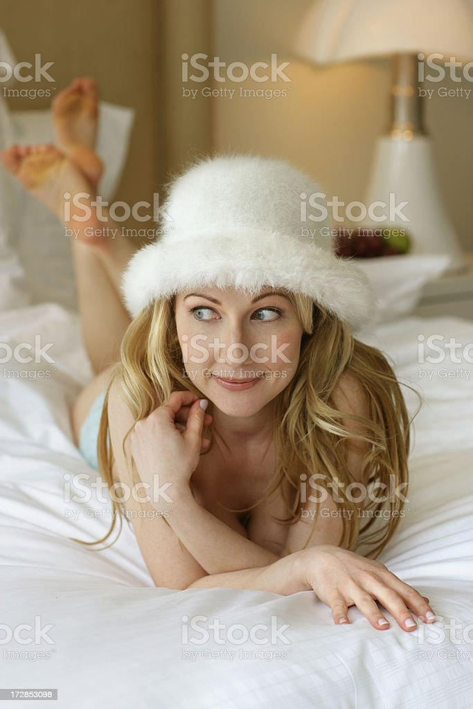 Thinking in bed royalty-free stock photo