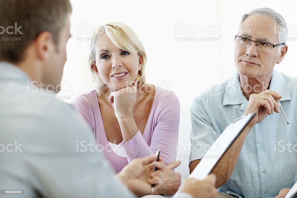 Thinking long and hard about their finances royalty-free stock photo