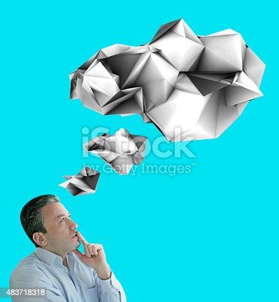 istock Thinking Man and Think Balloon 483718318
