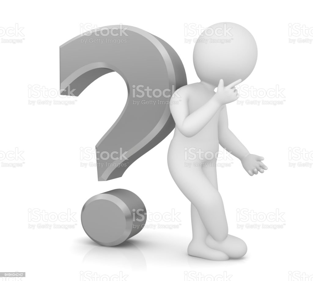 Thinking Man Asking Person With Silver 3d Question Mark ...