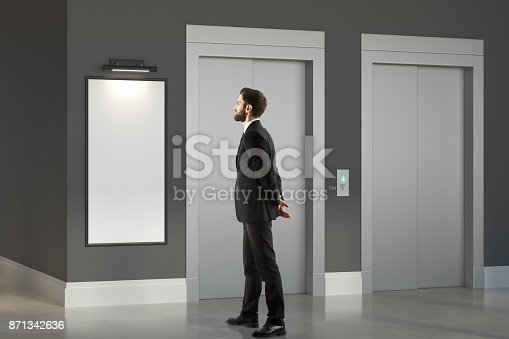638591126istockphoto Thinking man in room with lift 871342636
