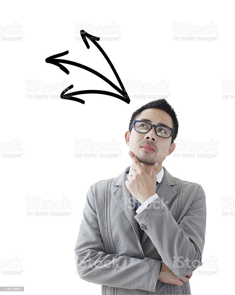 Thinking man isolated on white background stock photo