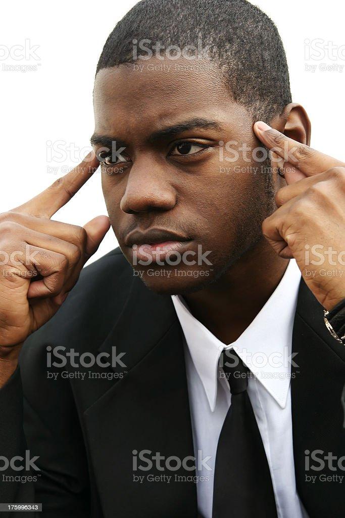 Thinking Man Looking Ahead stock photo
