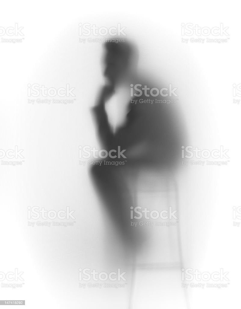 Thinking man silhouette, abstract royalty-free stock photo