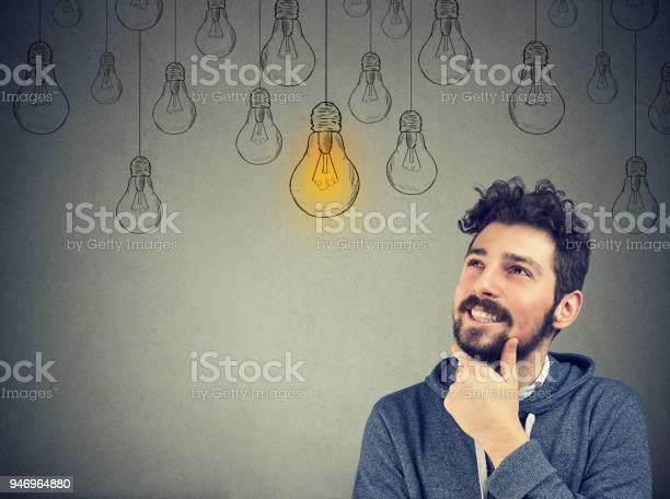 Thinking man smiling looking up at light idea bulb above head picture id946964880?b=1&k=6&m=946964880&s=612x612&h=nipjseij1cjwn2e841xnlh4jstwwjntjxzeip7l4xyi=