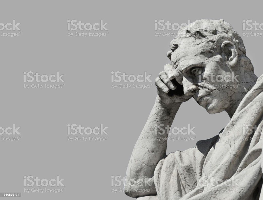 Thinking Man statue stock photo