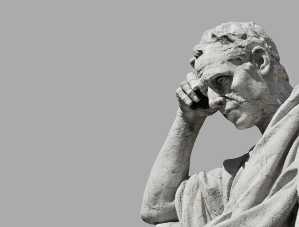 thinking man statue - roman stock photos and pictures