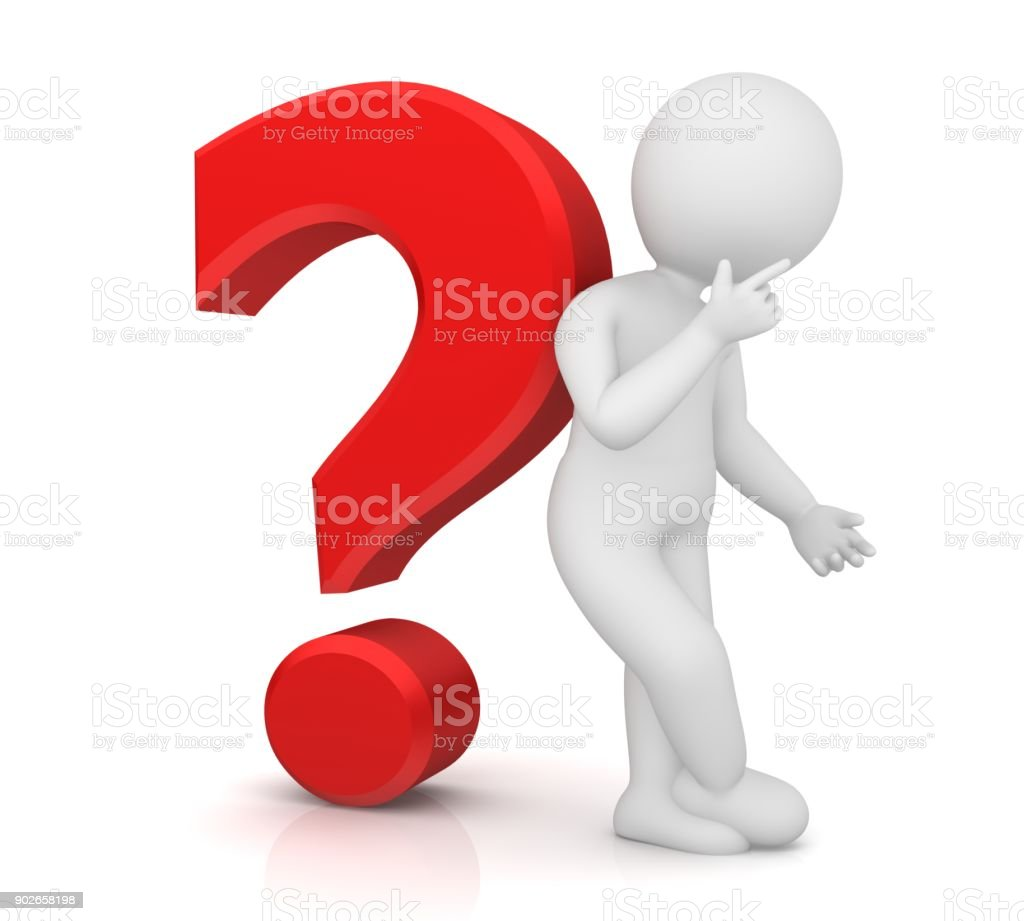 thinking man worried stick man with red question mark 3d interrogation point isolated on white background stock photo