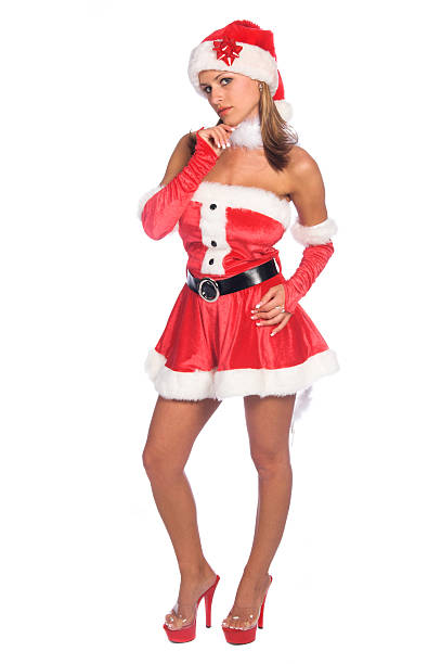 Thinking Mrs Claus stock photo