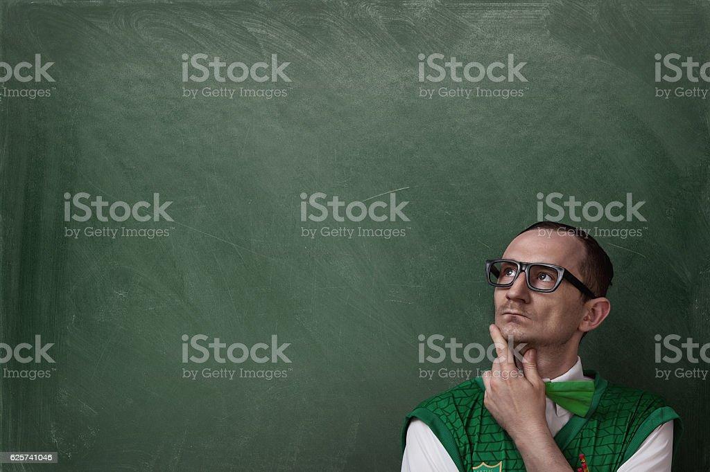 Thinking nerd stock photo