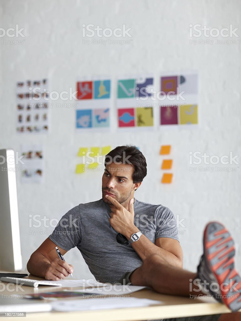 Thinking of a strategy royalty-free stock photo