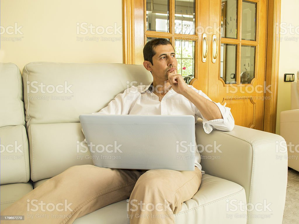 thinking of new projects at home royalty-free stock photo