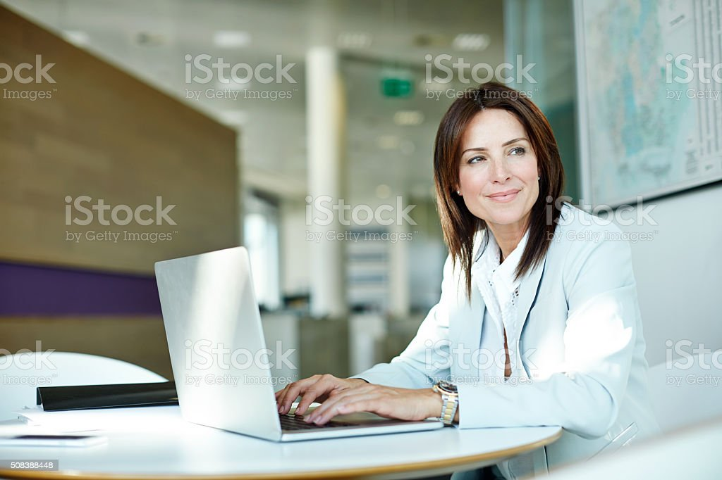 Thinking of the perfect words stock photo
