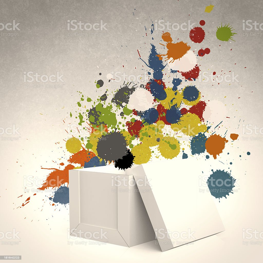 thinking outside the box and splash colors royalty-free stock photo