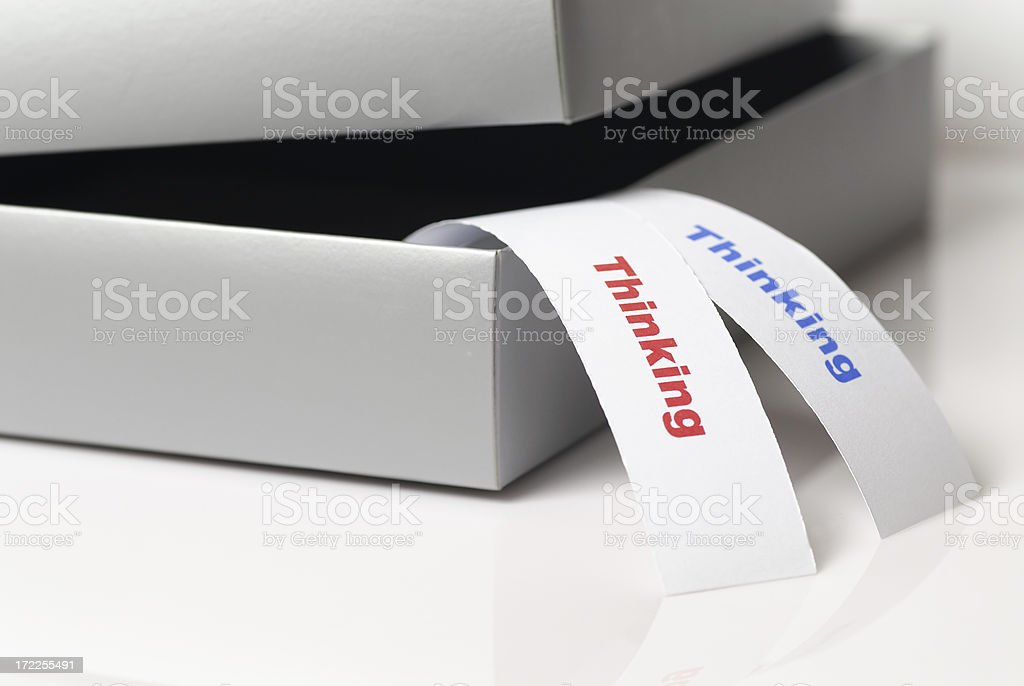Thinking outside the box (white version) royalty-free stock photo