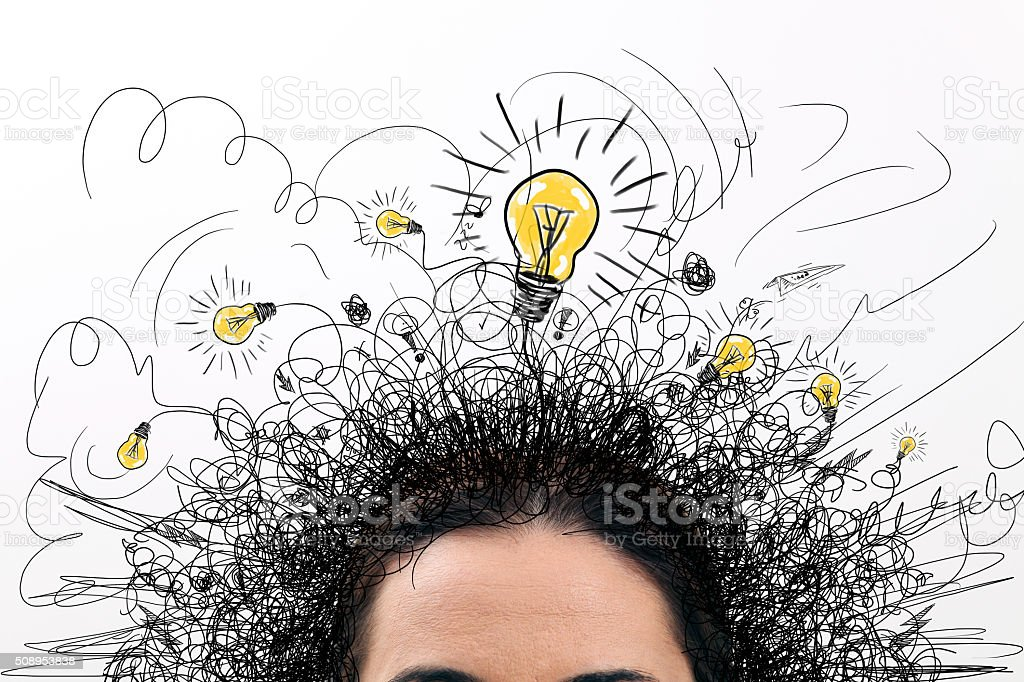 Thinking people with question signs and light idea bulb above stock photo